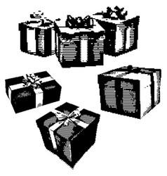 black 8-bit set of gife box with ribbon vector image vector image