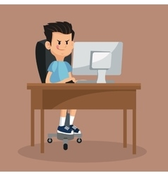 Boy playing video game computer online vector