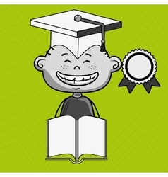 Boy student book cap vector