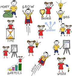business kids hand drawing cartoon characters vector image vector image
