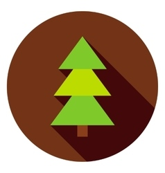 Coniferous christmas tree circle icon vector