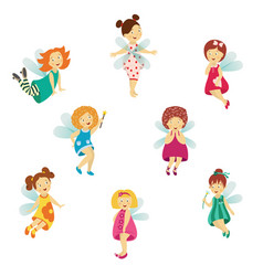 fairy cute girl set isolated vector image vector image