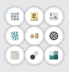 flat icon games set of gomoku jigsaw multiplayer vector image