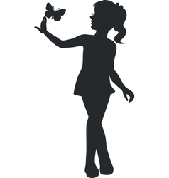 girl walking black 11 vector image vector image