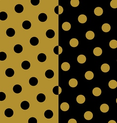Gold and black polka dots pattern and texture set vector