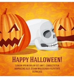 Happy halloween greeting card with carved pumpkins vector