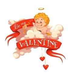 Happy valentine day heart with cherub vector