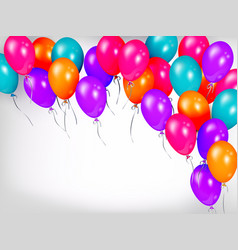 horizontal line border of shiny colorful balloons vector image vector image