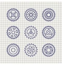 Line gears icon set sketch vector image vector image