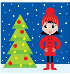 little girl and a fur-tree vector image vector image