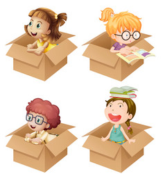 little girls in cardboard boxes vector image vector image