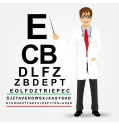 Male optician pointing to snellen chart vector