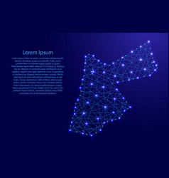 Map of jordan from polygonal blue lines vector