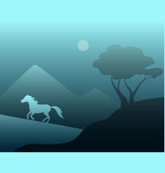 night landscape with a wild horse vector image vector image
