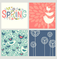 Retro spring birds flowers doodles vector