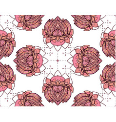Seamless pattern with pink lotus element for vector