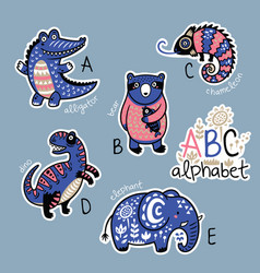 set of cute patch badges with animals alphabet a - vector image vector image
