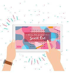 Sold out on screen colorful background vector