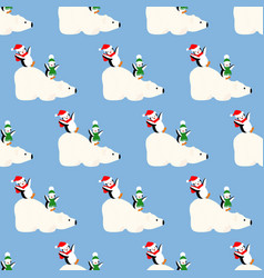 white bear and penguins pattern vector image