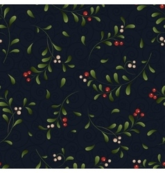 Green sprig with red berries seamless background vector