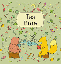 cozy lable card for forest tea vector image