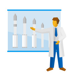 the scientist shows a poster with rockets vector image