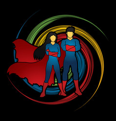 Super hero man and woman standing vector