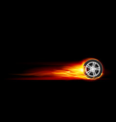 Red burning wheel on black background vector