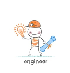 engineer holding blueprints and idea vector image