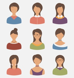 set female characters isolated on white background vector image