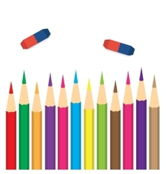 Set of colored pencils with erasers vector