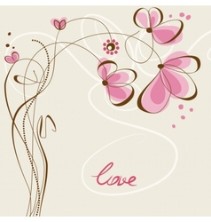 Love floral card vector