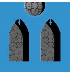 Church windows in simple cartoon drawing style vector image