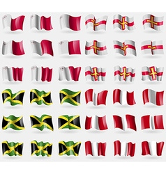 Malta guernsey jamaica peru set of 36 flags of the vector
