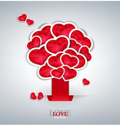 Tree of hearts background vector
