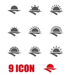 Grey sunrise icon set vector