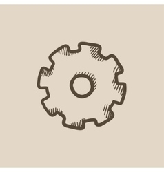 Gear sketch icon vector
