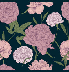 Beautiful detailed peonies seamless pattern hand vector