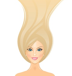 Beautiful girl with long blond hair vector