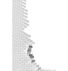 broken wall on white vector image vector image