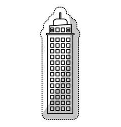 Building architecture facade cut line vector