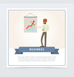businessman making presentation explaining growth vector image