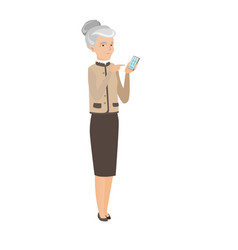 Caucasian business woman holding mobile phone vector