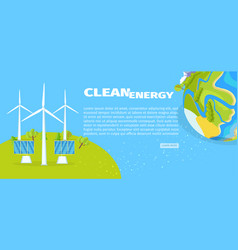 clean energy with solar panels and planet poster vector image vector image