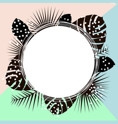 creative summer round template with black palm vector image vector image