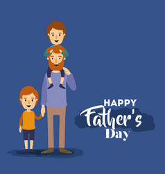 dark blue background with dad and two kids on the vector image