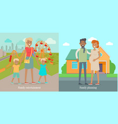 family entertainment and panning social banners vector image