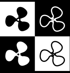 Fan sign black and white icons and line vector
