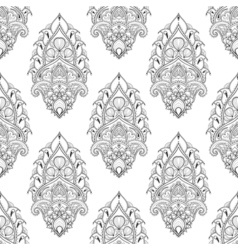Floral leaf seamless pattern in zentangle style vector