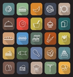 Food line flat icons with long shadow vector